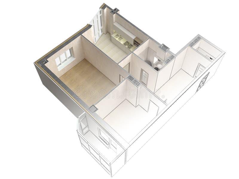 Schizzo di un appartamento moderno che contrappone con una rappresentazione realistica 3d, vista superiore del progetto, isolata illustrazione vettoriale
