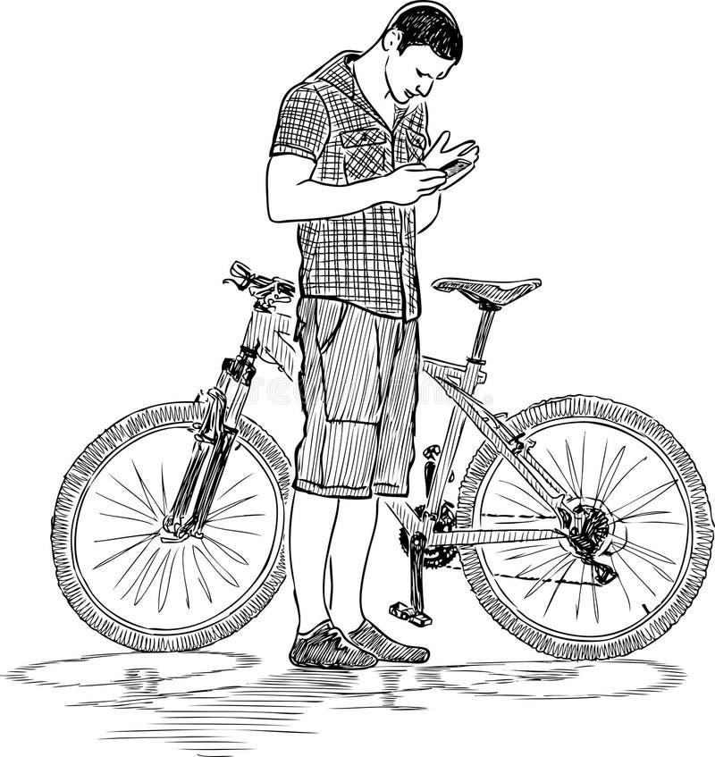 Schizzo di un ciclista con un telefono cellulare royalty illustrazione gratis