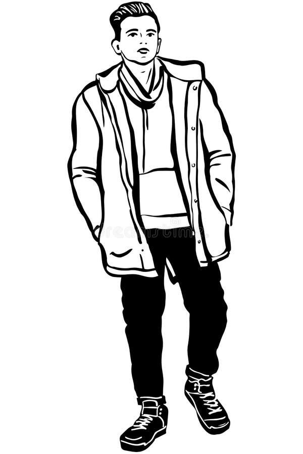 Schizzo di un giovane in un rivestimento ed in una sciarpa illustrazione di stock