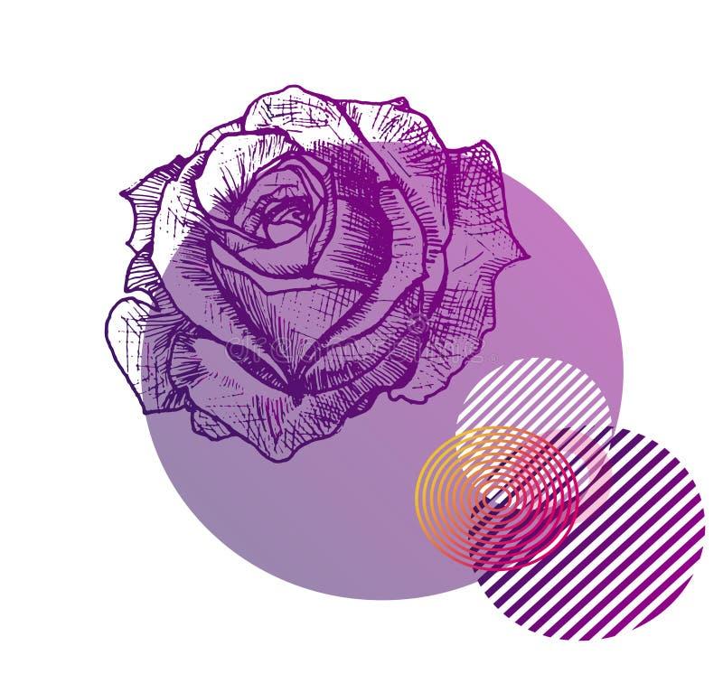 Schizzo di un tatuaggio e della geometria rosa porpora illustrazione vettoriale