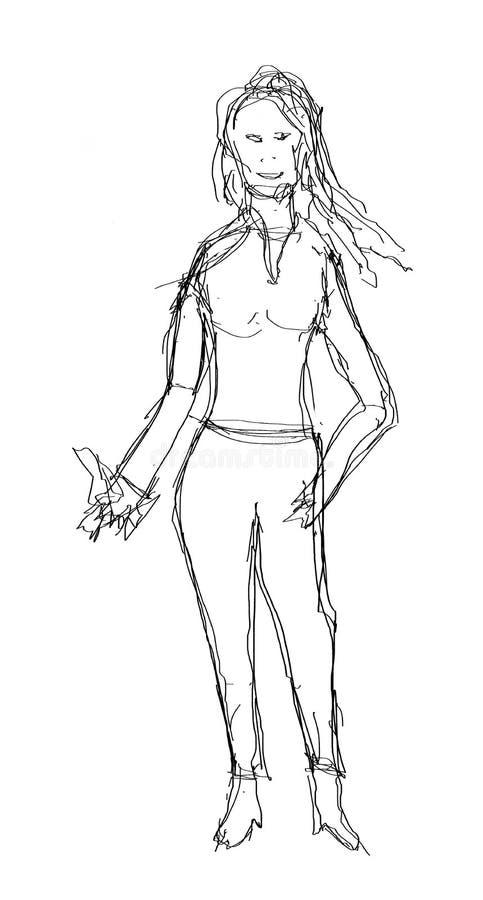 Schizzo di una persona dai capelli lunghi femminile esile illustrazione vettoriale