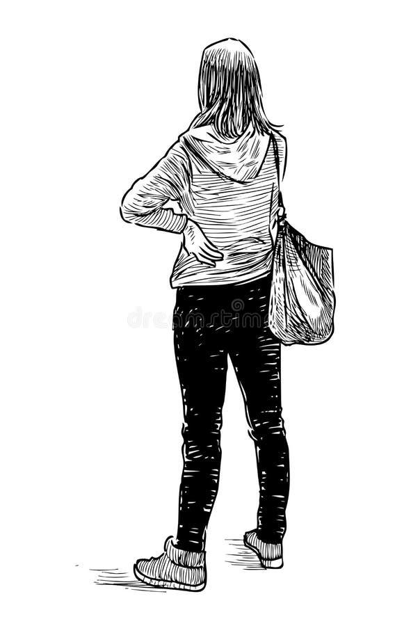 Schizzo di una ragazza dello studente che sta e che aspetta royalty illustrazione gratis