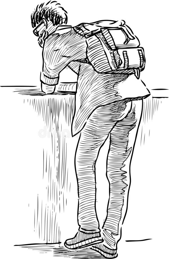 Schizzo di uno studente che riposa sull'argine del fiume illustrazione di stock