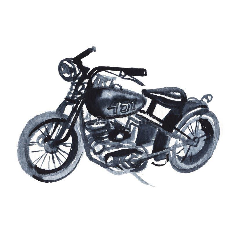 Schizzo di vecchio motociclo nello stile d'annata Acquerello ed inchiostro del disegno della mano Isolato su priorit? bassa bianc illustrazione vettoriale