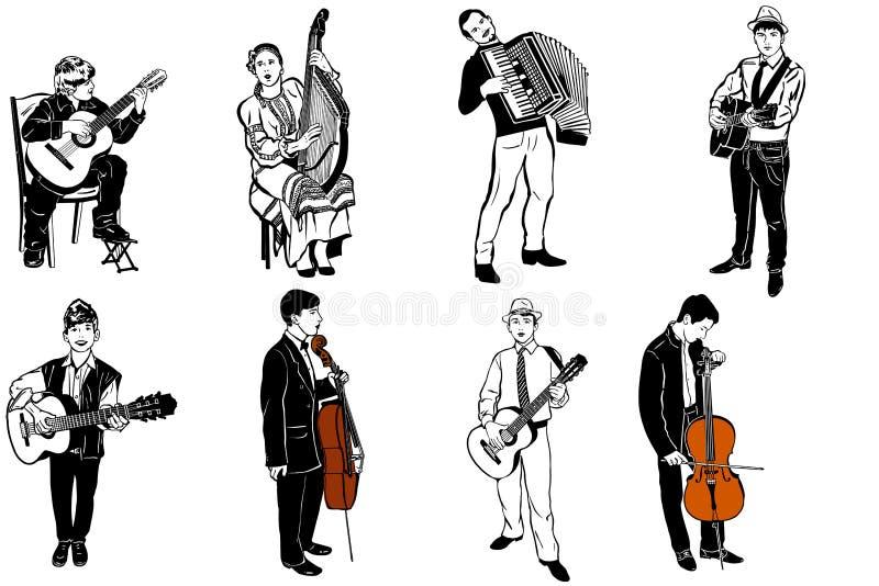 Schizzo di vettore dei musicisti che giocano i vari strumenti musicali illustrazione di stock