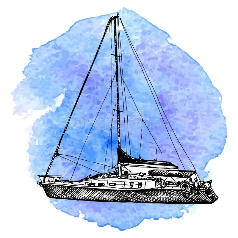 Schizzo di vettore dell'yacht illustrazione di stock