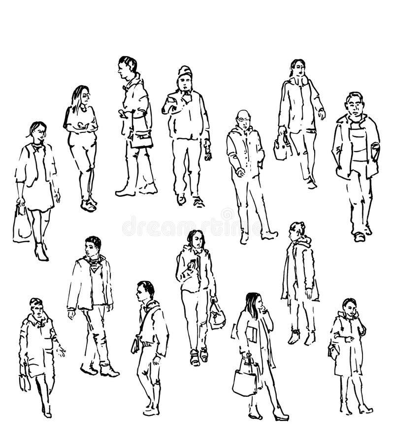 Schizzo di vettore della gente illustrazione di stock