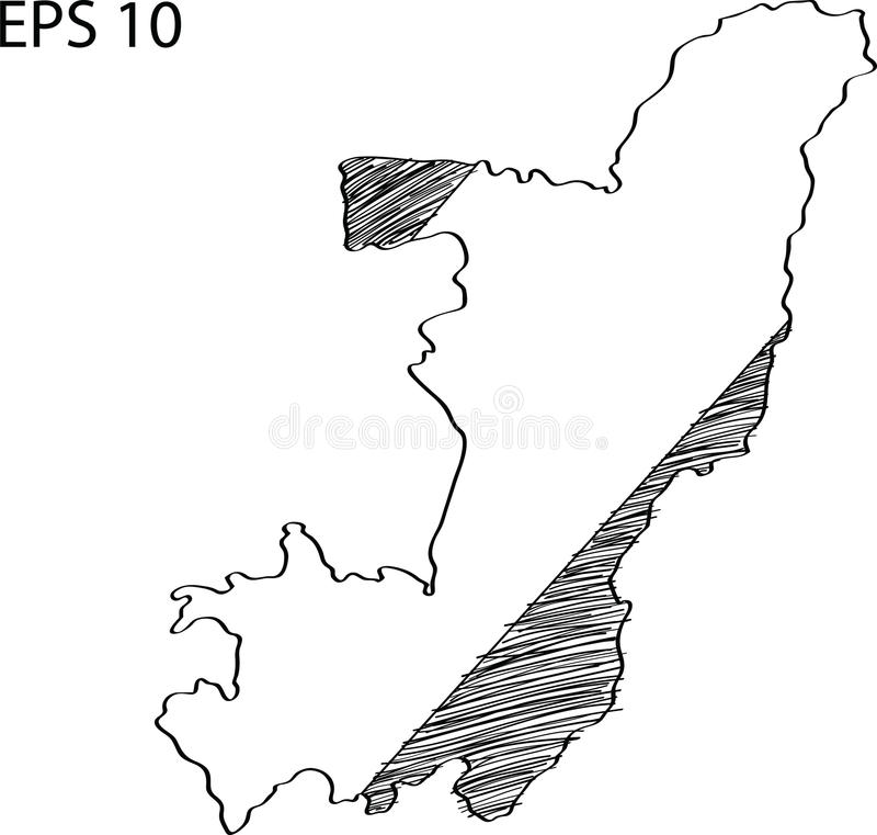 Schizzo di vettore della mappa della bandiera di Cuba su illustrazione di stock