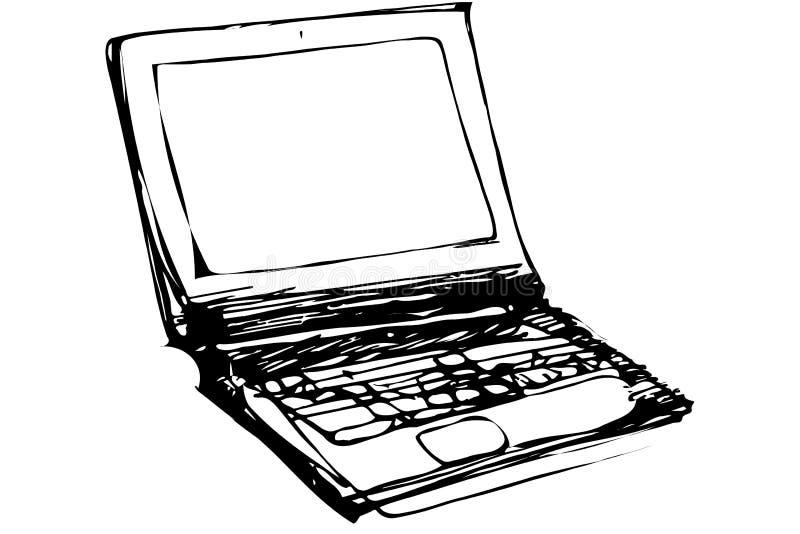 Schizzo di vettore di un computer portatile aperto illustrazione di stock
