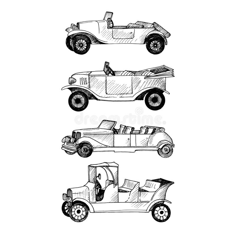 Schizzo di vettore di retro automobile royalty illustrazione gratis
