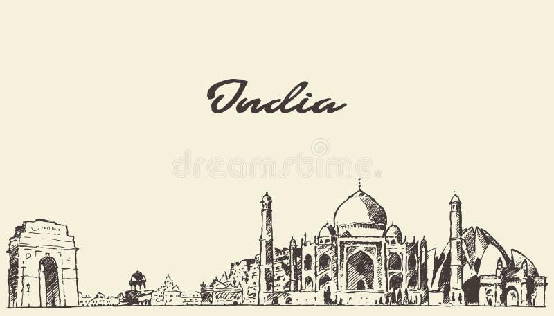 Schizzo disegnato illustrazione di vettore dell'orizzonte dell'India illustrazione di stock