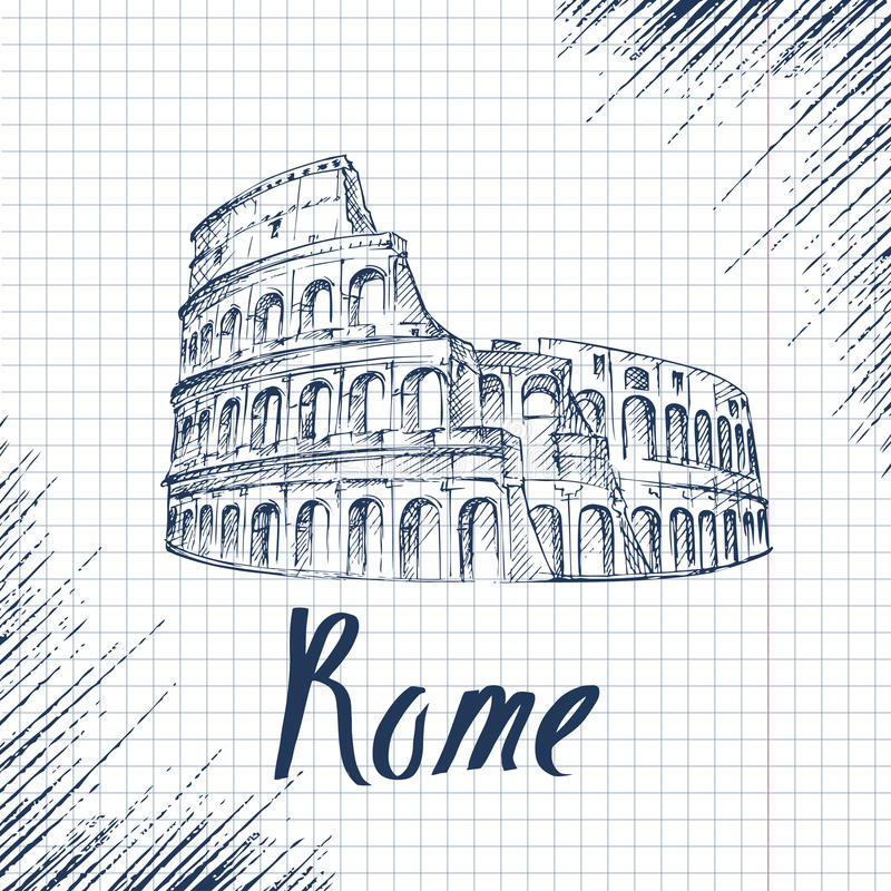 Disegno del colosseo illustrazione del colosseo a roma for Colosseo da colorare
