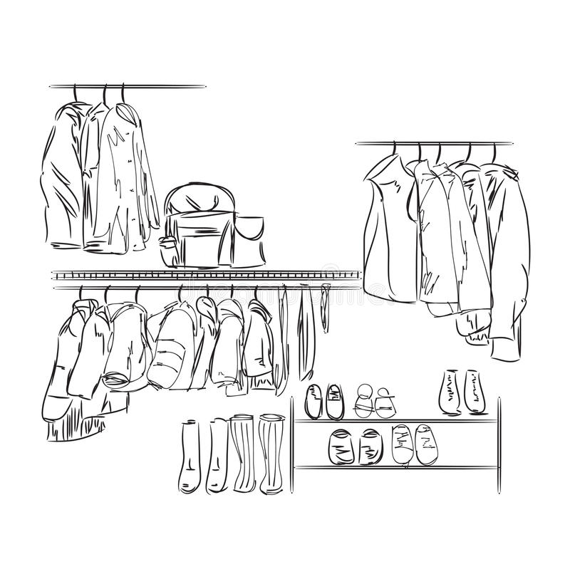 Schizzo disegnato a mano del guardaroba illustrazione vettoriale