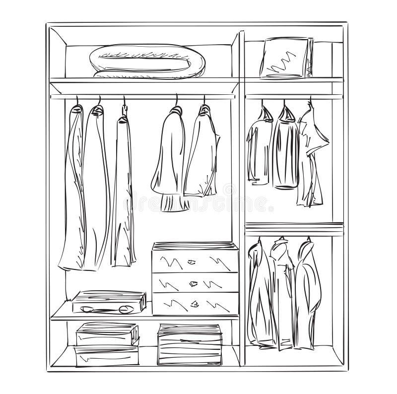 Schizzo disegnato a mano del guardaroba royalty illustrazione gratis