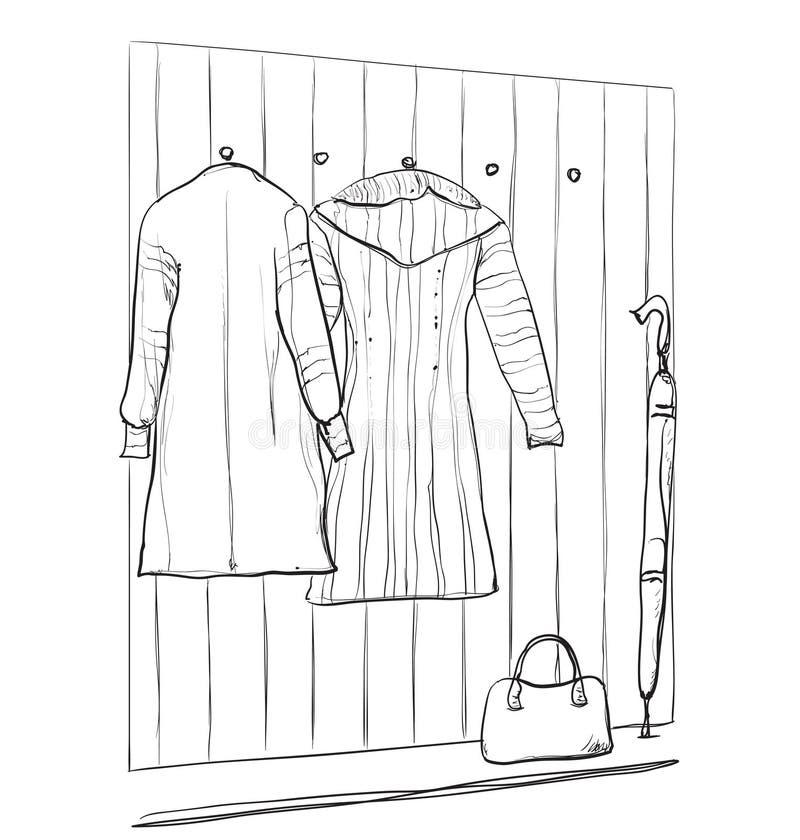 Schizzo disegnato a mano del guardaroba con i vestiti illustrazione di stock