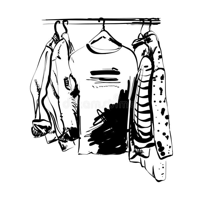 Schizzo disegnato a mano del guardaroba Maglietta ed altri vestiti sulla fame monocromatico illustrazione di stock