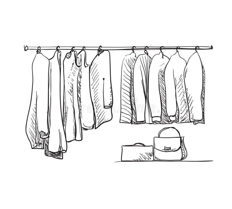 Schizzo disegnato a mano del guardaroba Vestiti royalty illustrazione gratis