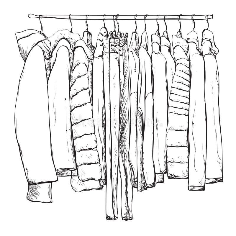 Schizzo disegnato a mano del guardaroba Vestiti caldi illustrazione vettoriale