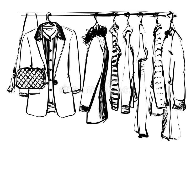 Schizzo disegnato a mano del guardaroba Vestiti e borsa sulla fame illustrazione vettoriale