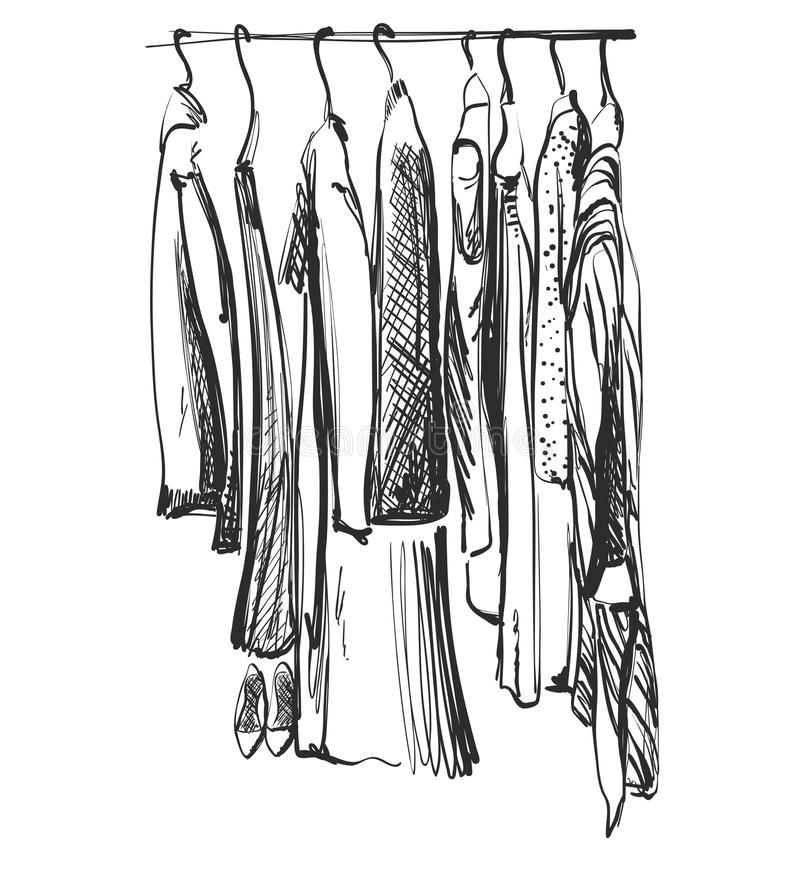 Schizzo disegnato a mano del guardaroba Vestiti sulla fame illustrazione vettoriale