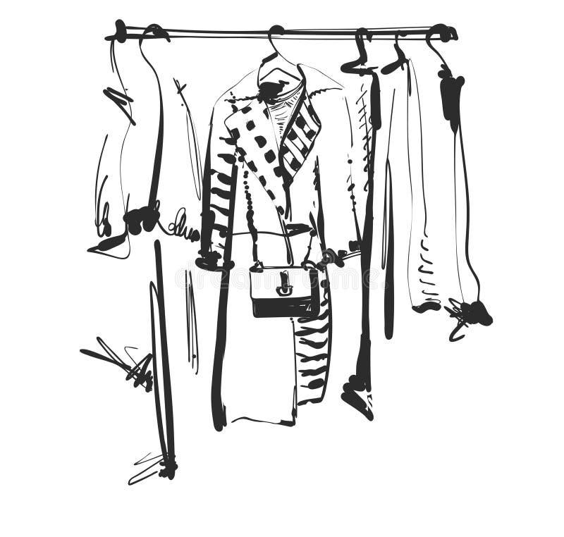 Schizzo disegnato a mano del guardaroba Vestiti sulla fame Modo royalty illustrazione gratis