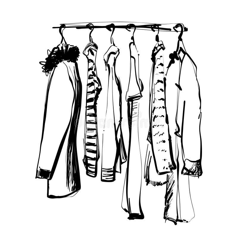 Schizzo disegnato a mano del guardaroba Vestiti sulla fame illustrazione di stock