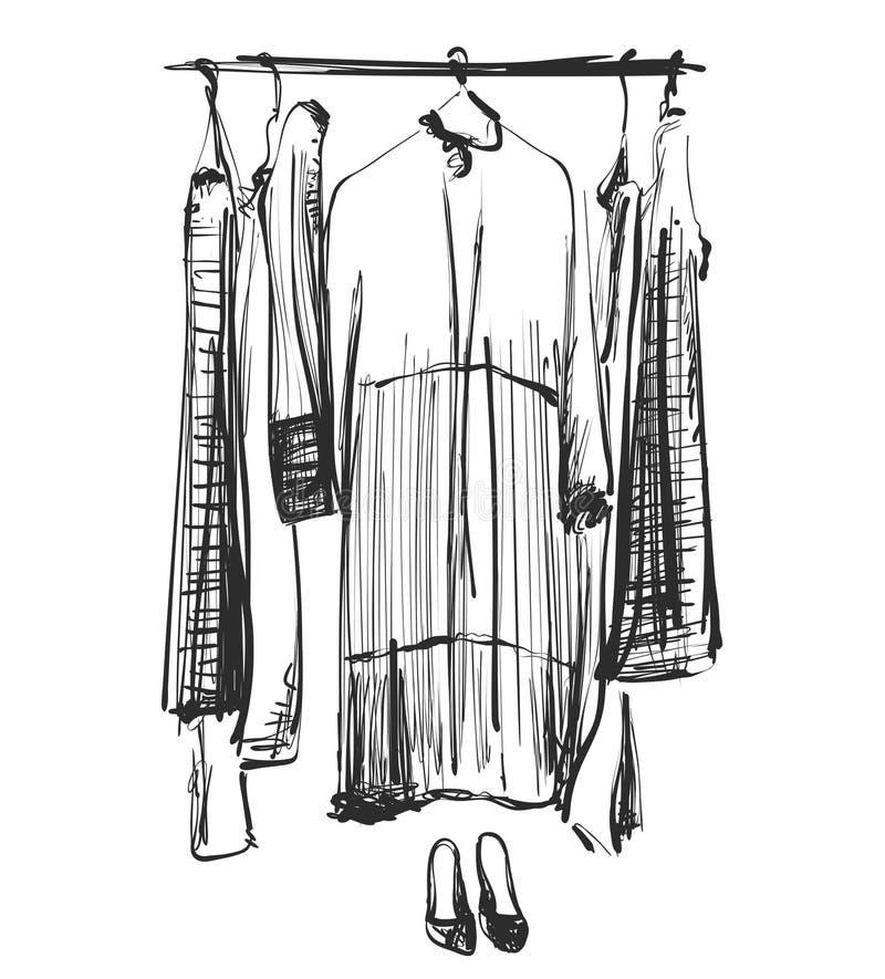Schizzo disegnato a mano del guardaroba Vestiti sulla fame vestito illustrazione di stock