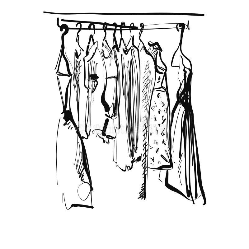 Schizzo disegnato a mano del guardaroba Vestito sulla fame fotografie stock libere da diritti