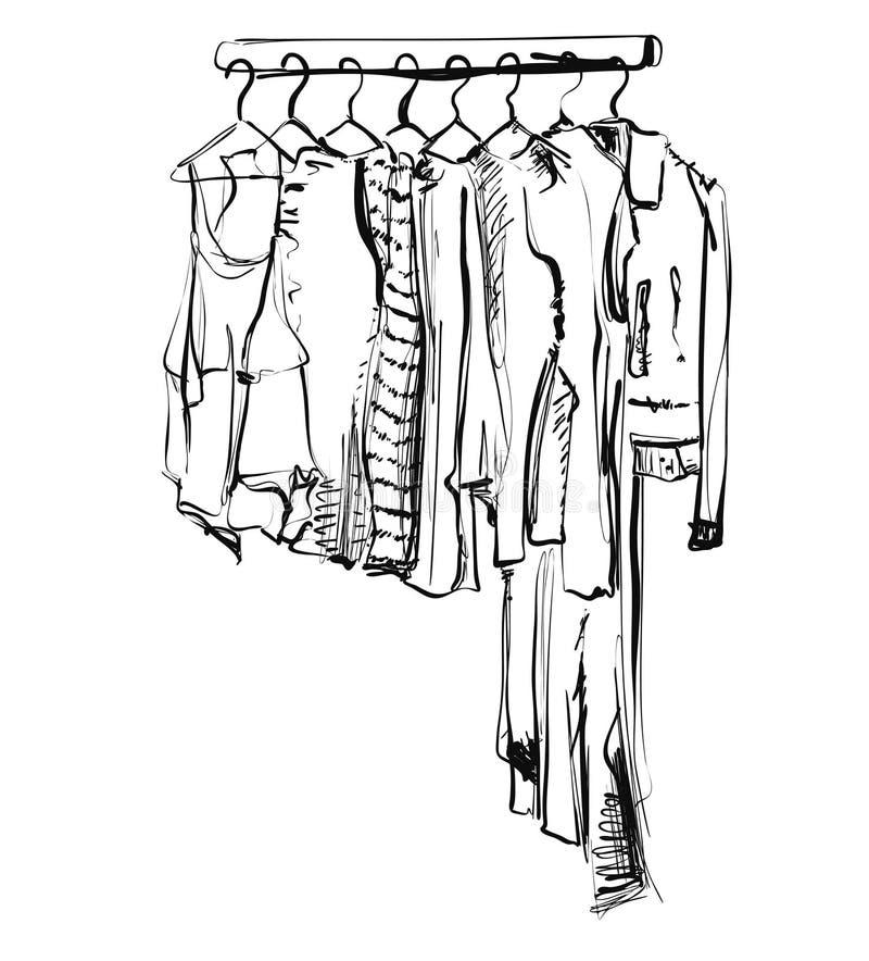 Schizzo disegnato a mano del guardaroba Vestito sulla fame illustrazione di stock