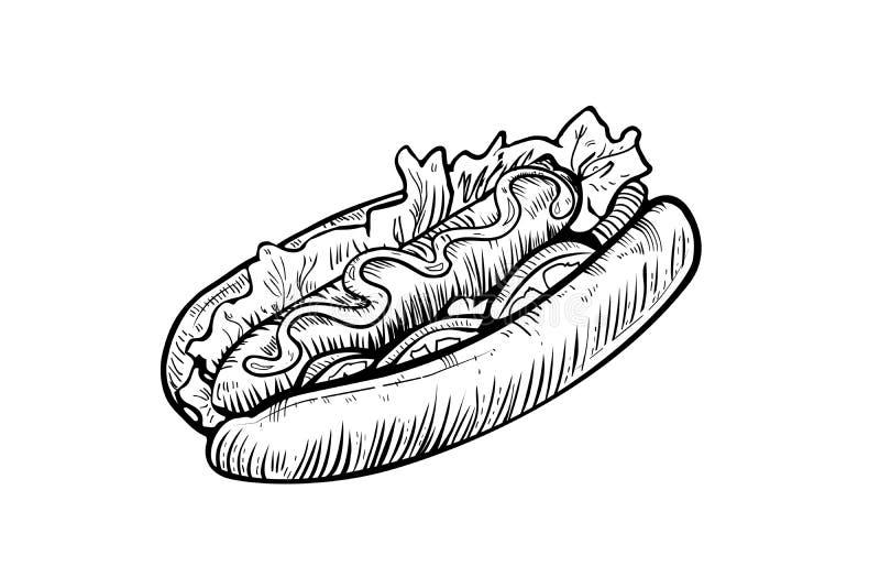 Schizzo disegnato a mano del hot dog, progetto che attingono fondo bianco, incisione d'annata Illustrazione dell'alimento di vett royalty illustrazione gratis