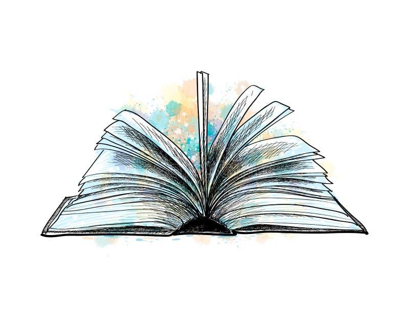 Schizzo disegnato a mano del libro aperto royalty illustrazione gratis