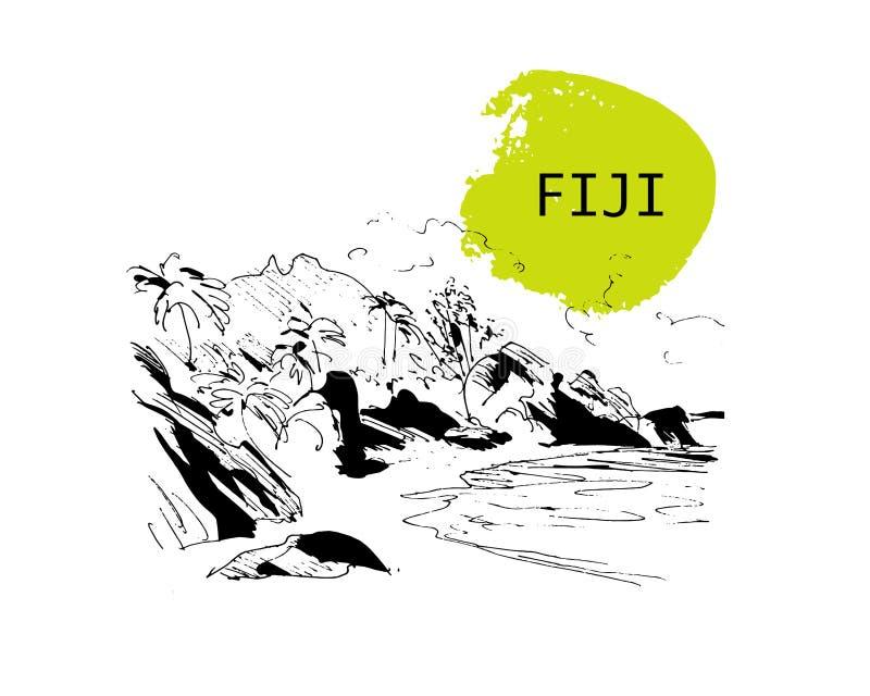 Schizzo disegnato a mano del litorale di Figi royalty illustrazione gratis
