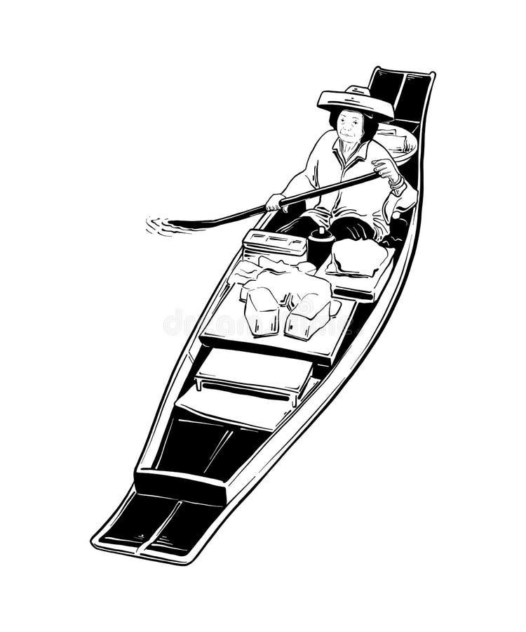Schizzo disegnato a mano del mercato di galleggiamento tailandese del nero isolato su fondo bianco Disegno d'annata dettagliato d royalty illustrazione gratis