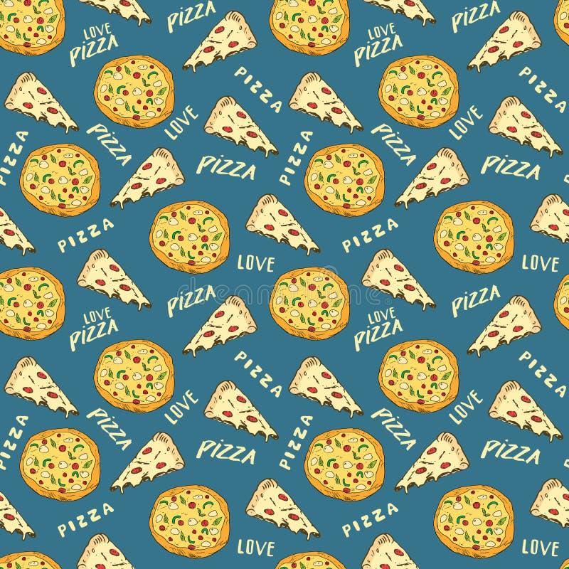 Schizzo disegnato a mano del modello senza cuciture della pizza La fetta della pizza scarabocchia ed esprime il fondo dell'alimen illustrazione di stock