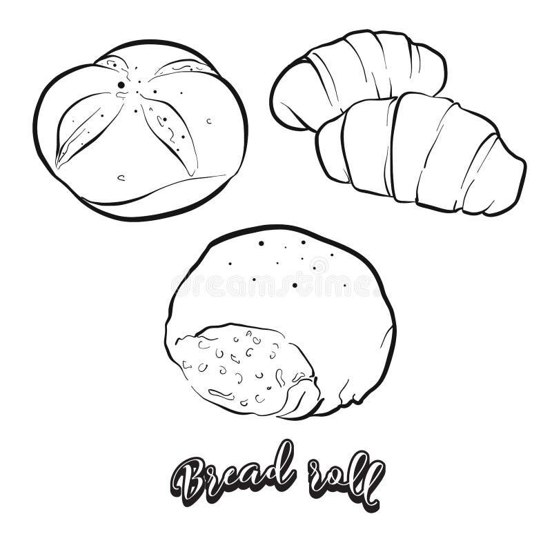 Schizzo disegnato a mano del pane del panino illustrazione vettoriale