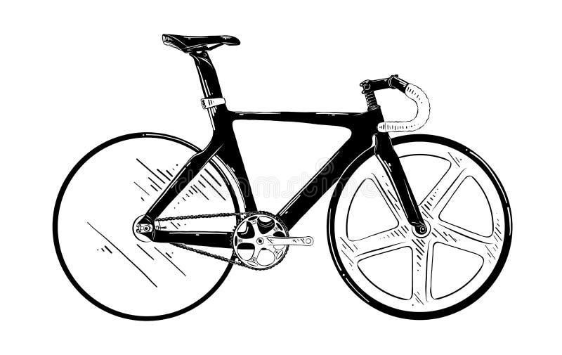 Schizzo disegnato a mano del rimorchio nel nero isolato su fondo bianco Disegno d'annata dettagliato di stile incisione royalty illustrazione gratis