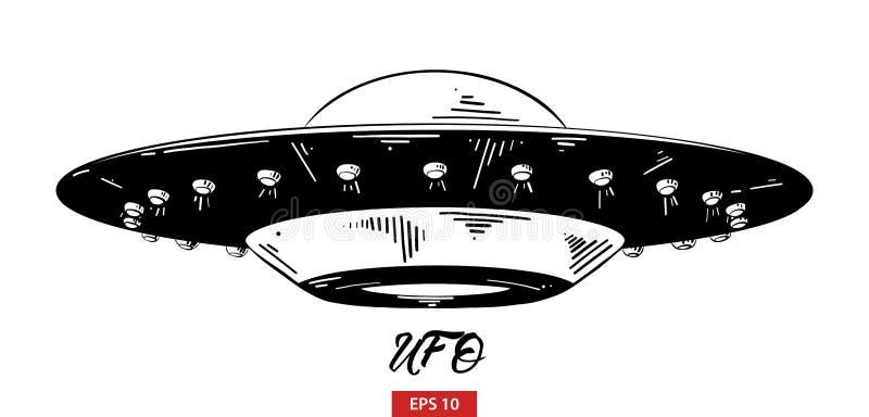 Schizzo disegnato a mano del UFO in nero isolato su fondo bianco Disegno d'annata dettagliato di stile incisione illustrazione vettoriale