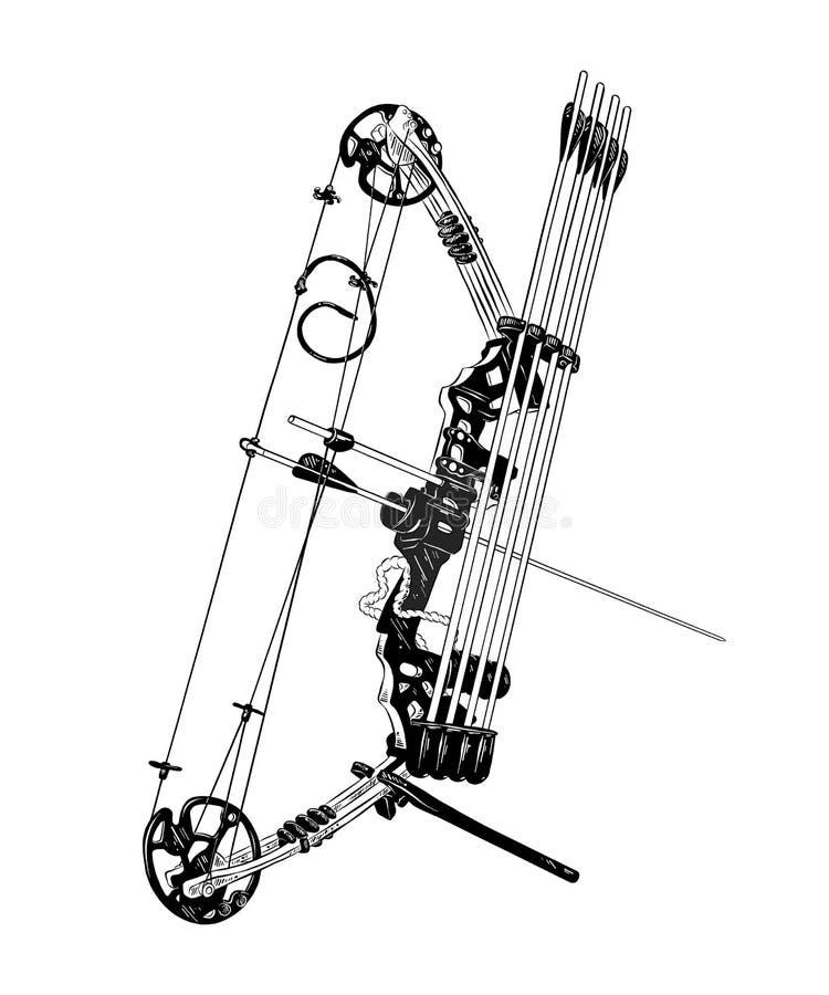 Schizzo disegnato a mano dell'arco e della freccia nel nero isolati su fondo bianco Disegno d'annata dettagliato di stile incisio royalty illustrazione gratis