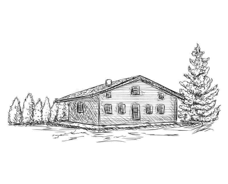 Schizzo disegnato a mano della casa Scarabocchia l'albero royalty illustrazione gratis