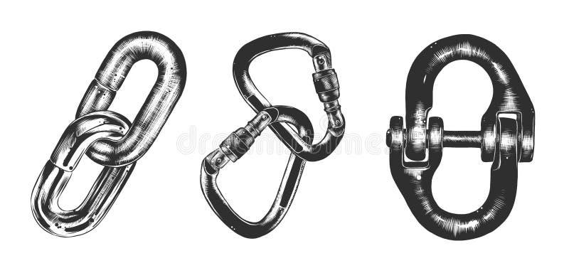 Schizzo disegnato a mano della catena di blocco nel monocromio isolata su fondo bianco Disegno d'annata dettagliato di stile dell illustrazione di stock