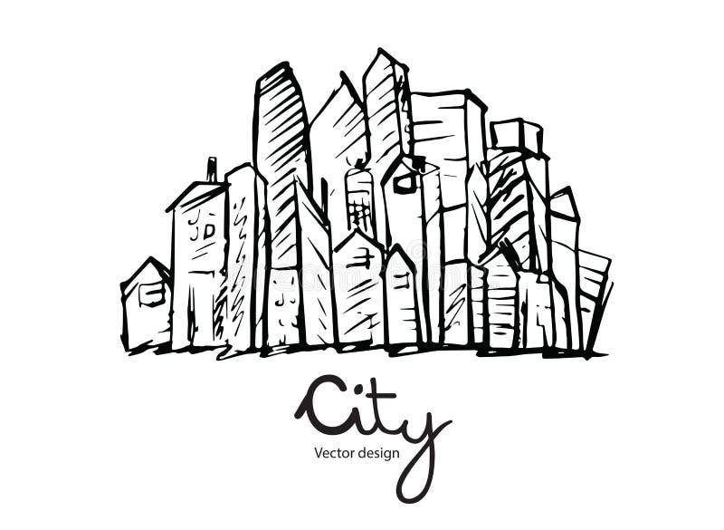 Schizzo disegnato a mano della città per la vostra progettazione su fondo bianco, vettore illustrazione vettoriale