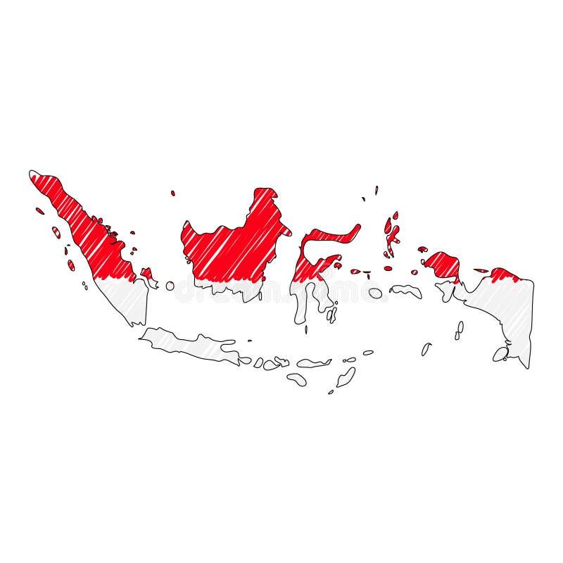 Schizzo disegnato a mano della mappa dell'Indonesia Bandiera dell'illustrazione di concetto di vettore, il disegno dei bambini, m illustrazione vettoriale