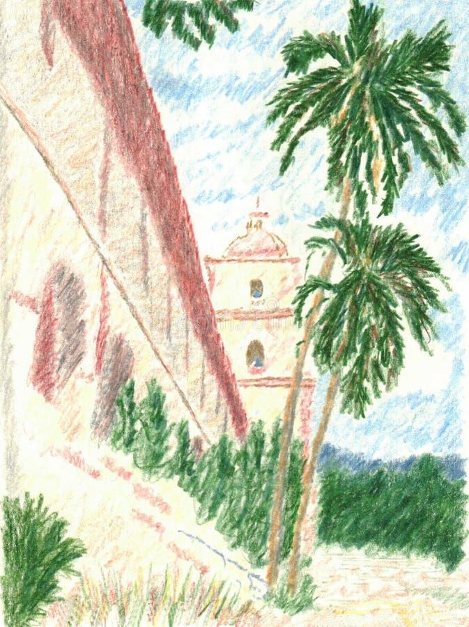 Schizzo disegnato a mano della matita della missione di Santa Barbara royalty illustrazione gratis