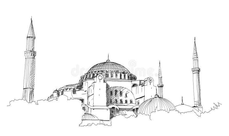 Schizzo disegnato a mano della moschea blu di fama mondiale con il testo di Ramadan Kareem, Costantinopoli nell'illustrazione di  royalty illustrazione gratis