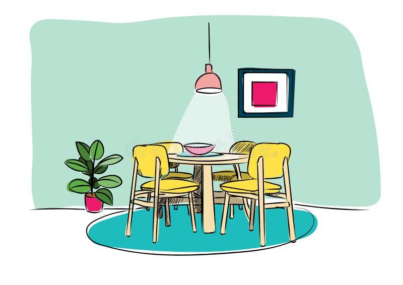 Schizzo disegnato a mano della sala da pranzo Illustrazione di vettore di interior design royalty illustrazione gratis