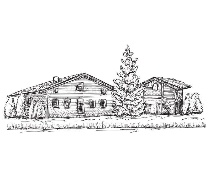 Schizzo disegnato a mano delle case Scarabocchia l'albero illustrazione vettoriale