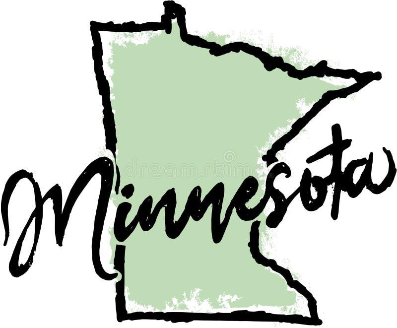 Schizzo disegnato a mano dello stato del Minnesota illustrazione di stock