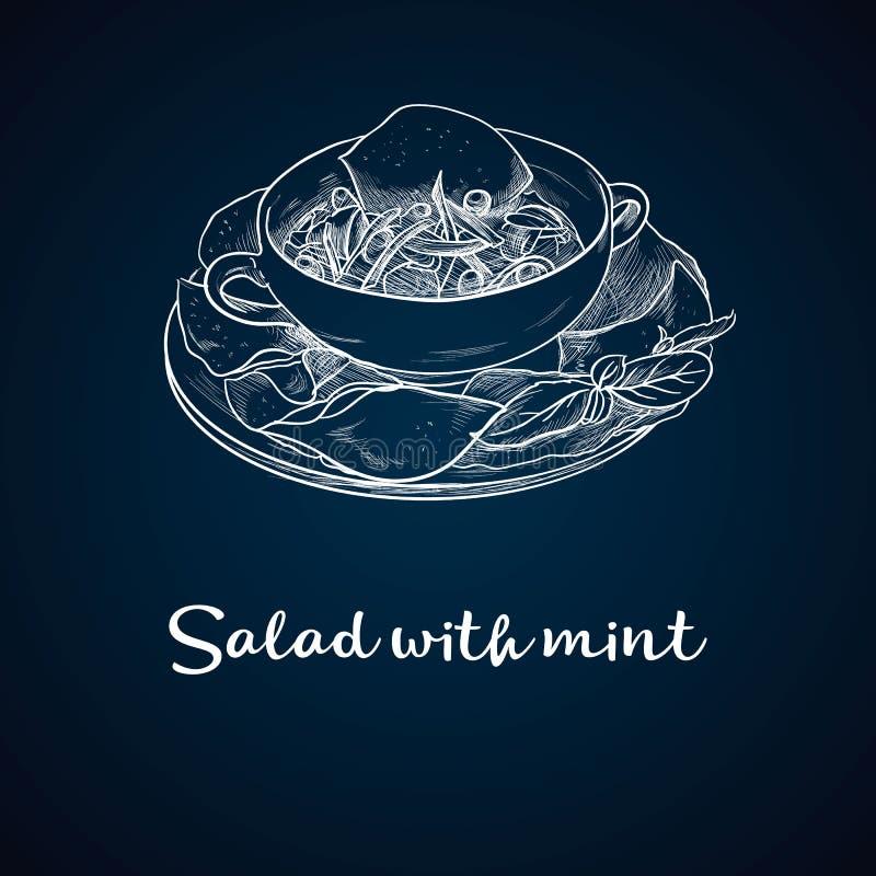 Schizzo disegnato a mano di insalata fresca con i verdi, le olive, i pomodori ciliegia, le cipolle, il formaggio ed il cetriolo A illustrazione vettoriale