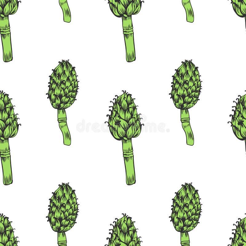 Schizzo disegnato a mano di vettore del carciofo senza cuciture del modello isolato su fondo bianco, pianta decorativa di erbe, a illustrazione vettoriale