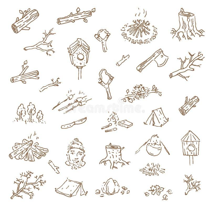 Schizzo disegnato a mano di vettore dell'illustrazione di campeggio su wh illustrazione di stock